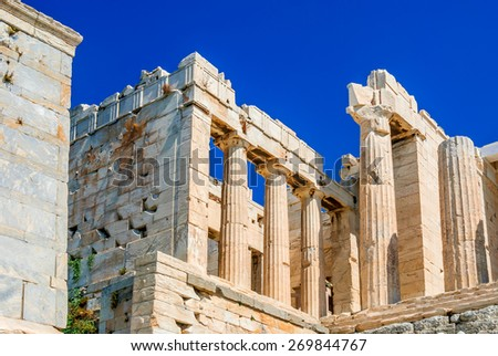 Athens, Greece. Ancient ruins of Parthenon temple on the Acropolis heritage of Greek culture - stock photo