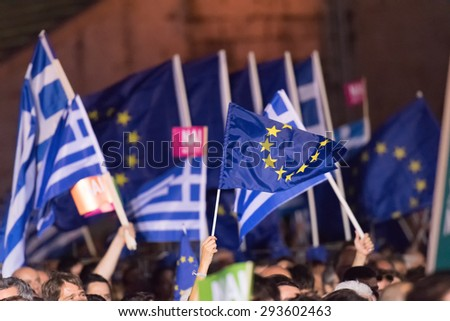 Athens, Greece, 3 July 2015. The mayor of Athens, Greek celebrities and people from all around Greece were gathered at Kallimarmaro stadium to demonstrate against the upcoming referendum.  - stock photo