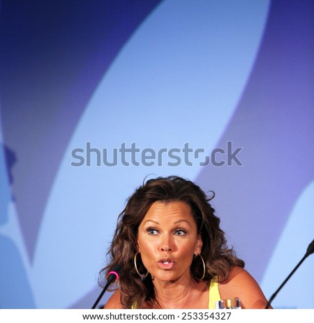 ATHENS, GREECE - JUNE 25: American actress, singer and former fashion model Vanessa Williams on June 25, 2011 in Athens, Greece. She became the first African-American woman crowned Miss America. - stock photo