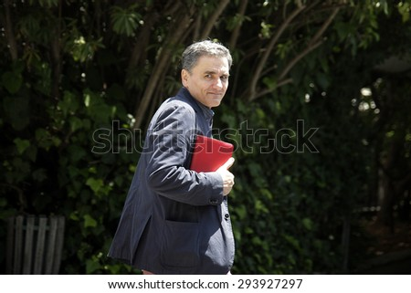 ATHENS, GREECE - JUNE 16, 2015: The Greek government has announced that the new finance minister, Euclid Tsakalotos. Portraits - stock photo