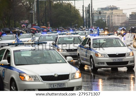 ATHENS, GREECE - MAR 25, 2015: During Military parade for the Greece Independence Day is an annual national holiday, on this day, Greeks pay tribute to the heroes of the Revolution 1821-1829. - stock photo