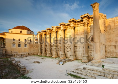 Athens, Greece - October 02 2015: Remains of the Hadrian's Library and the old mosque in Monastiraki square in Athens, Greece - stock photo