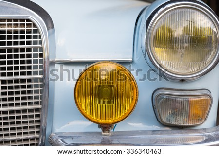 ATHENS, GREECE - OCTOBER 29, 2015: The radiator grille for Mercedes-Benz oldtimer car parked in a street - stock photo