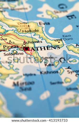 Athens Greece, on atlas world map