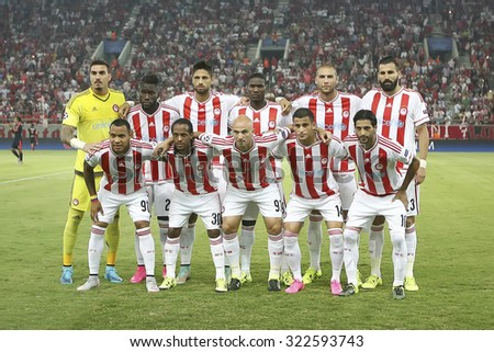 Athens, Greece- September 16, 2015: Group Photo of the team of Olympiacos before the beginning of the UEFA Champions League game between Bayern and Olympiacos, in Athens, Greece.  - stock photo