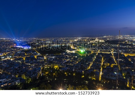Athens night view,Greece - stock photo
