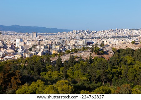 Athens Skyline with the hill  near Acropolis  in Greece - stock photo