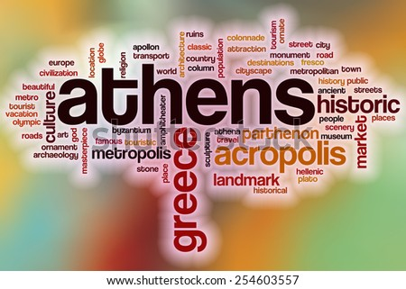 Athens word cloud concept with abstract background - stock photo