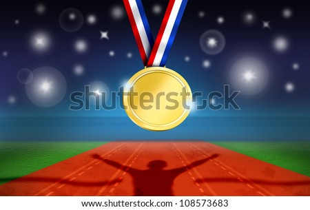 Athlete Celebrates on Racetrack Finish Line. Stadium during Night with Camera flashes and Gold Medal Hung. - stock photo
