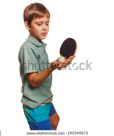 athlete feed table tennis ping pong experiencing boy joy victory winning success isolated on white background  - stock photo