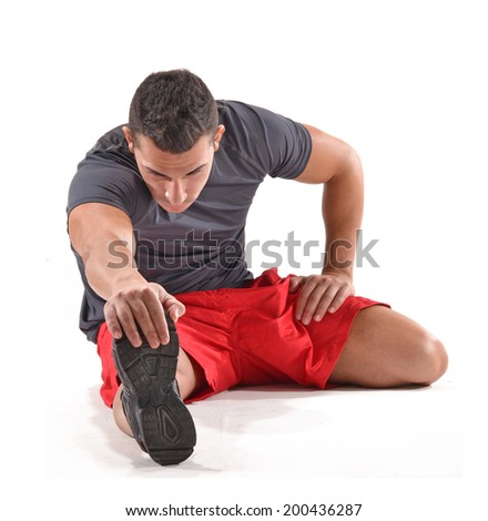 Athlete fitness man stretching on white background. - stock photo