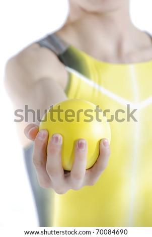 Athlete holding shot put on a white background. - stock photo