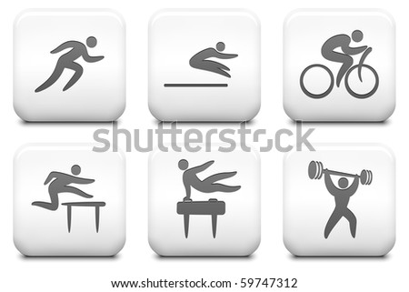 Athlete Icons on Square Black and White Button Collection Original Illustration - stock photo