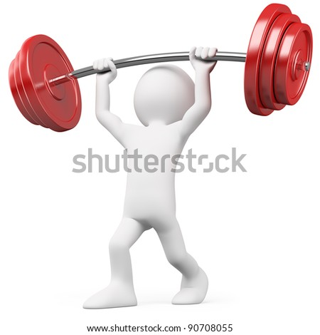 Athlete lifting weights - stock photo