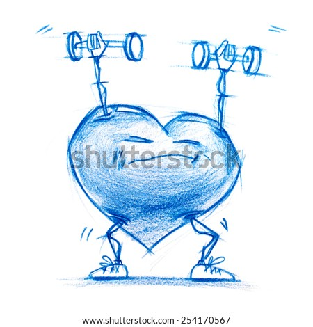 Athlete Lifting Weights. Set. Character Heart in Various Life Situations. Graphic illustration in Pencil Drawing. Metaphor - stock photo