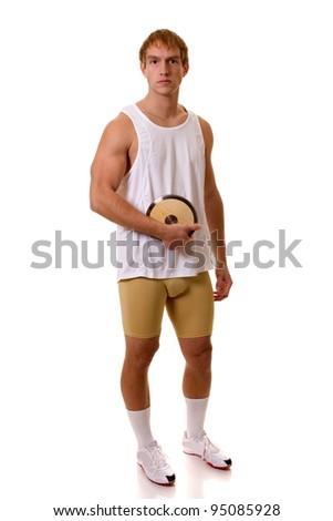 Athlete With Discus - stock photo