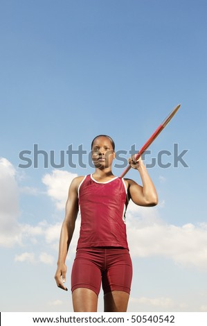 Athlete with javelin, half length - stock photo