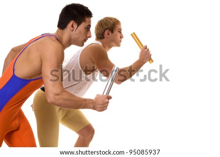 Athletes Racing Relay - stock photo