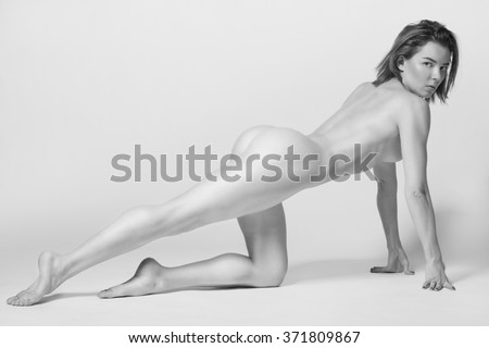 Athletic body of young woman over white background. Fitness concept. - stock photo