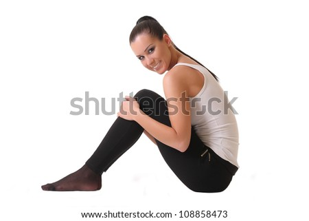 athletic girl isolated on white - stock photo