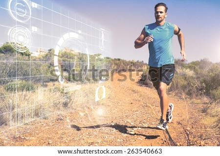 Athletic man jogging on country trail against fitness interface - stock photo