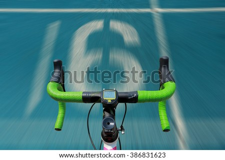 Athletic running track with number  - stock photo