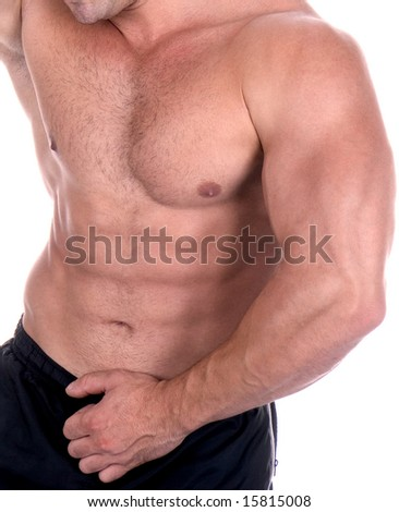 Athletic sexy male body builder. The champion in a fitness center. - stock photo