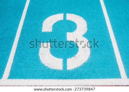 Athletic Surface Markings -- Number Three -- in bright colors, using - stock photo