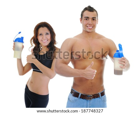 Athletic young man and woman with protein shake bottle. Isolated on white background - stock photo