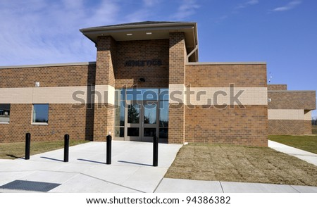 Athletics entrance for Wilson Area Intermediate school in Easton, Pennsylvania - stock photo