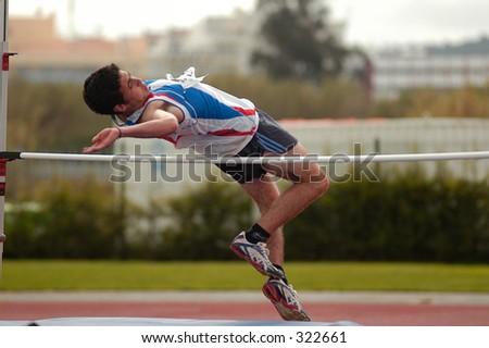 Athletics high jump - stock photo