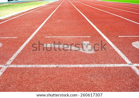 Athletics Stadium Running track number 7 - stock photo