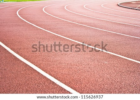 Athletics Stadium Running track rubber standard red color - stock photo