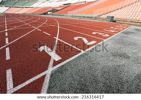 athletics track - stock photo