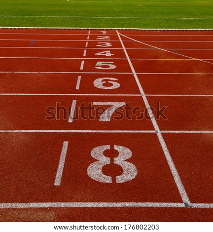Athletics Track Lane in the stadium - stock photo