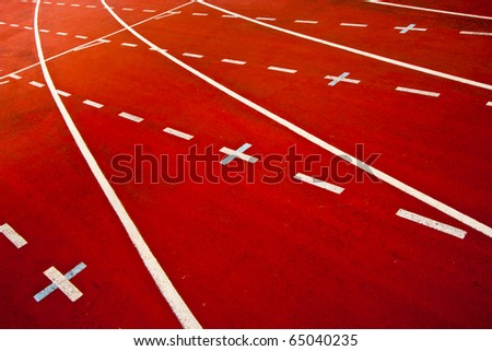 Athletics Track Lanes with Positive signs - stock photo