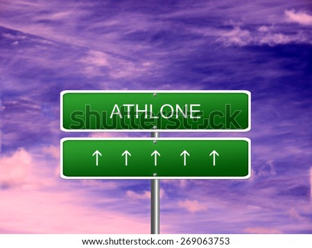 Athlone city Ireland tourism Eire welcome icon sign. - stock photo
