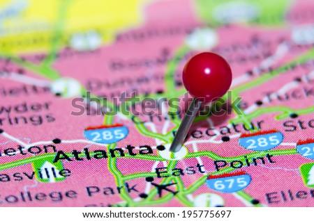 atlanta city pin on the map - stock photo