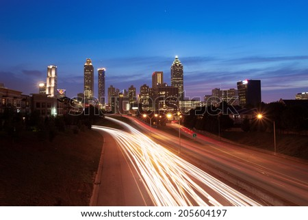 Atlanta downtown with traffic flow - stock photo