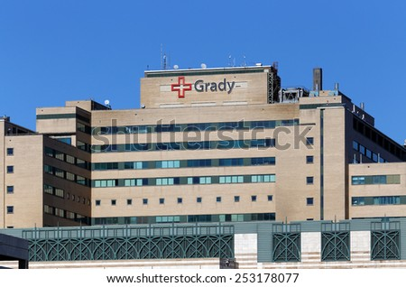 ATLANTA, GA - JANUARY 25: Grady Memorial Hospital located in downtown Atlanta, Georgia on January 25, 2015. Grady is the public hospital for Atlanta and the largest hospital in the state of Georgia. - stock photo