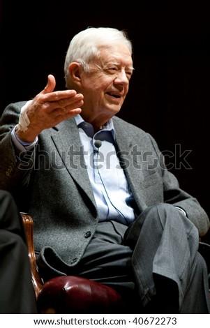 ATLANTA, GA - NOVEMBER 10: President Jimmy Carter speaks onstage at Emory University November 10, 2008 in Atlanta, Ga. - stock photo