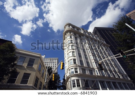 Atlanta Georgia Business Skyscrapers Downtown Flatiron Building - stock photo