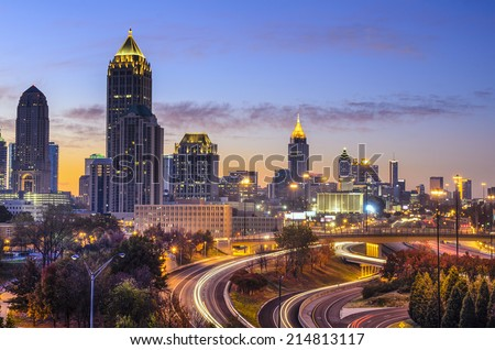 Atlanta, Georgia downtown skyline at sunrise. - stock photo