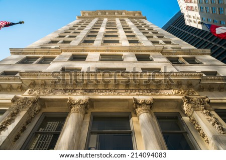 Atlanta, Georgia - October 13, 2013: Classical style architecture of the historic Candler Building in downtown Atlanta. - stock photo