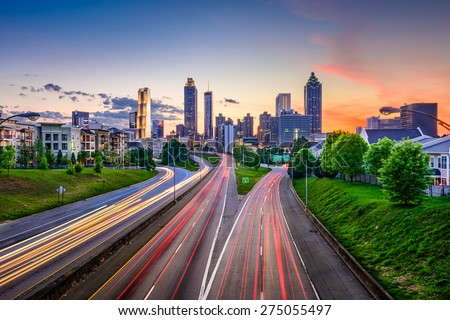 Atlanta, Georgia, USA downtown city skyline over Freedom Parkway. - stock photo