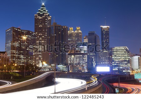 Atlanta. Image of the Atlanta skyline during twilight blue hour. - stock photo