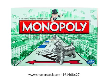 ATLANTA - MAY 2, 2014: Outside of box for classic Monopoly board game by Hasbro. - stock photo