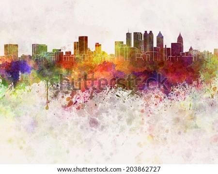 Atlanta skyline in watercolor background - stock photo