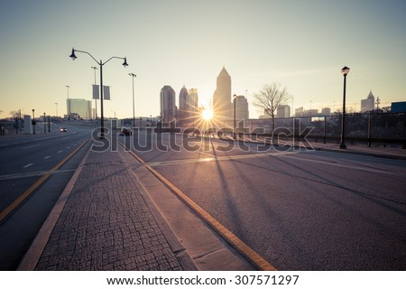 Atlanta street at sunrise, Georgia, USA - stock photo