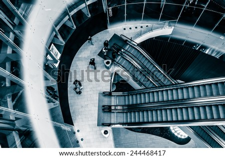 ATLANTIC CITY - MAY 30: Escalators inside Revel Casino Hotel on May 30, 2014, in Atlantic City, New Jersey. Revel is the tallest building in Atlantic City and a popular casino and resort. - stock photo
